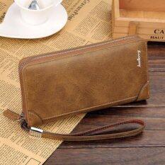 โปรโมชั่น Baellerry กระเป๋าสตางค์ ผู้ชาย กระเป๋าเงิน กระเป๋าตัง บาง ทรงยาว Men Wallet Business Style Long Pattern Pu Leather Wallet For Men Khaki