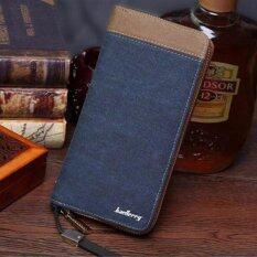 ขาย ซื้อ ออนไลน์ Baellerry กระเป๋าสตางค์ ผู้ชาย กระเป๋าเงิน กระเป๋าตัง บาง ทรงยาว Men Wallet Long Pattern Pu Leather Wallet For Men Blue