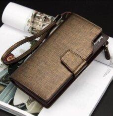 ขาย ซื้อ Baellerry Men Long Wallet Leather Hand Bag Credit Card Coin Holders With Hand Strap Gold Intl จีน