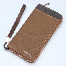 ซื้อ Baellerry Men Zipper Long Purses Card Holder Large Capacity Clutches Long Wallet(Coffee) Intl ใหม่
