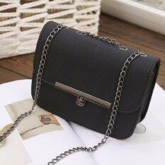 ราคา Bag Fashion กระเป๋าสะพายข้าง พาดลำตัว ทรงเหลี่ยม สายสะพายโซ่ สีดำ รุ่น0020 Bag Fashion ออนไลน์