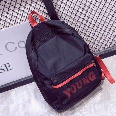 ซื้อ Bag Fashion กระเป๋าเป้สะพายหลังแฟชั่น สกรีนYoung รุ่น137 สีดำ Bag Fashion ถูก