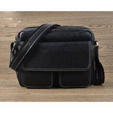 ขาย ซื้อ ออนไลน์ กระเป๋าสะพายข้างหนังแท้ S0168 สีดำ