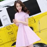ราคา Balagu เกาหลีสีทึบใหม่คอกลมกระโปรงชุด สีชมพู Unbranded Generic ใหม่
