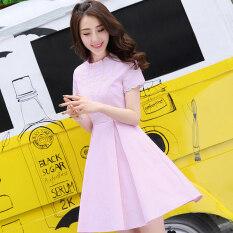ทบทวน ที่สุด Balagu เกาหลีสีทึบใหม่คอกลมกระโปรงชุด สีชมพู