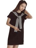 ซื้อ Bamboo ชุดกระโปรงสั้นสีดำ ผูกโบว์ลายริ้วขาว ดำ ใน กรุงเทพมหานคร