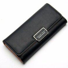 โปรโมชั่น Bamboo กระเป๋าสตางค์หนัง Pu ทรงยาว สีพาสเทล รุ่น Classic สีดำ