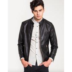 ราคา เสื้อแจ็คเก็ต B B Sheriff Stand Collar Leather สีดำ C168 ไทย