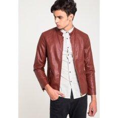 ขาย เสื้อแจ็คเก็ต B B Sheriff Stand Collar Leather สีแดง C168 B B Menswear Fashion ใน ไทย