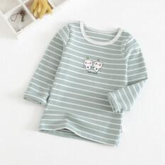 ส่วนลด สินค้า ผ้าฝ้ายเด็กชายเสื้อผ้าสาวท็อปส์ซู Bottoming เสื้อ สีเขียว สีเขียว