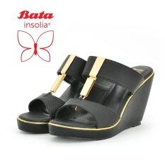 ราคา Oneprice Bata Insolia รองเท้าแฟชั่น ผู้หญิง ส้นเตารีด Ladies Casual Wedge สีดำ รหัส 7616617 ใน กรุงเทพมหานคร