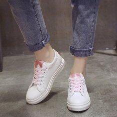 โปรโมชั่น ร้องเท้าผ้าใบผู้หญิง สีขาว มีแทบสี สไตล์เกาหลี 2017 สีชมพู ฮ่องกง