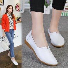 ซื้อ รองเท้าหนังหญิงรองเท้าเกาหลีสีขาว 810 สีขาว ออนไลน์