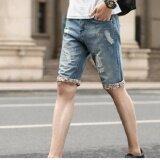 ส่วนลด Bb กางเกงยีนส์ผู้ชาย ขา 3 ส่วน แต่งแถบสีปลายขา แต่งขาด สียีนส์ รุ่น713 Bb