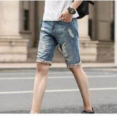 ส่วนลด สินค้า Bb กางเกงยีนส์ผู้ชาย ขา 3 ส่วน แต่งแถบสีปลายขา แต่งขาด สียีนส์ รุ่น713