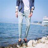 ซื้อ Bb กางเกงยีนส์แฟชั่น กางเกงยีนส์ขายาวผู้ชาย แต่งขาด ปลายขาจั้ม สียีนส์ซีด รุ่น 866 ออนไลน์ กรุงเทพมหานคร