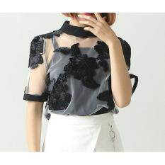 ทบทวน Be Chic เสื้อปักดอกไม้สีเทาผ้าโปร่ง สลับดอกสีดำ3มิติ