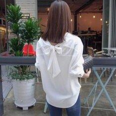 ขาย Be Chic เสื้อเชิ้ตแฟชั่น สีขาว มีโบว์ด้านหลัง ถูก