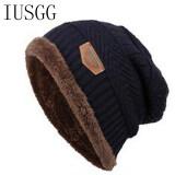 ขาย Beanies Knitted Hat Men S Winter Hats Warm Fur Winter Beanie Fleece Knit Bonnet Hat Number Cap Winter Warm Hats Navy Blue Intl ถูก