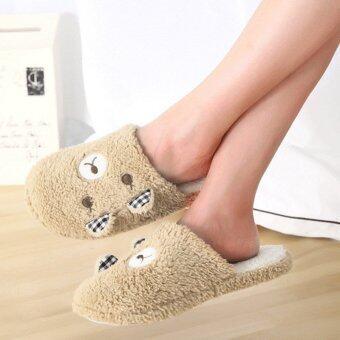 ในร่มผ้ารองเท้าแตะนุ่ม ๆ หมี Antiskid กาแฟ