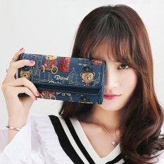 โปรโมชั่น Beauty Bag กระเป๋าสตางค์ใบยาว กระเป๋าเงินผู้หญิง กระเป๋าสตางค์น่ารัก ลายหมี รุ่น Lw 033 สีกรม Beauty Bag ใหม่ล่าสุด