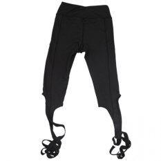 BEGINS เลกกิ้ง กางเกง ออกกำลังกาย Sports Legging Strap Ballet Pants (สีดำ)