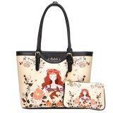 ขาย ซื้อ Beibaobao Tote กระเป๋า แฟชั่น เซ็ท2ใบ พิมพ์ลายหญิงสาวและดอกไม้ สีครีม ไทย