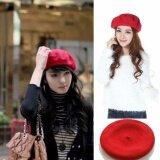 ส่วนลด สินค้า หมวกเบเร่ต์ หมวกสีแดง เลดี้แฟชั่นผ้าขนสัตว์ฝรั่งเศสหมวก Berets Beats หมวกหมวก Slouch ฝรั่งเศส