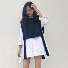 ซื้อ หลวมเกาหลีส้อมเสื้อแขนยาวเสื้อ เสื้อ เสื้อกั๊ก Thailand