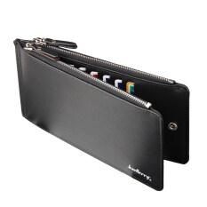 พับครึ่งสีดำหนัง Pu ถือพาสปอร์ตกระเป๋าซิปรอบขนาดกระเป๋าสตางค์ท่องเที่ยวเงิน จีน