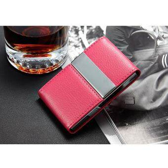 EAGOWEE ป้องกันการโจรกรรมโลหะคู่ RFID ผู้ถือบัตรด้วยการปิดกั้น PU Mini กระเป๋าหนังทำธุรกิจอัตโนมัติการปิดกั้นผู้ถือบัตรท่องเที่ยว Pop Up Case กรณีบัตรเครดิต Protector-