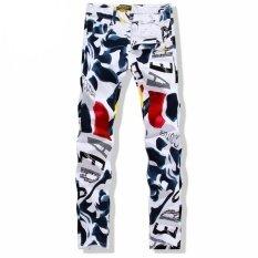 ซื้อ Big Size 28 43 White Printed Men Jeans Fashion Male Unique Cotton Jeans For Man Men S Casual Debris Printing Pants Intl ถูก