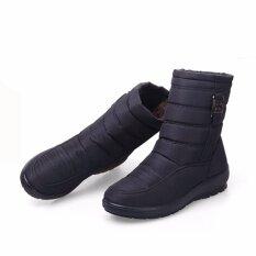 ขาย ขนาดใหญ่กันน้ำผู้หญิงฤดูหนาวรองเท้าบู๊ทหิมะคุณภาพสูงอบอุ่นข้อเท้าหนารองเท้ารองเท้าผู้หญิง สีดำ Unbranded Generic