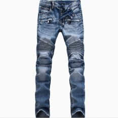 ราคา Biker กางเกงยีนส์ยุโรปและอเมริกาหัวรถจักรพับยืด แสงสีฟ้า ราคาถูกที่สุด