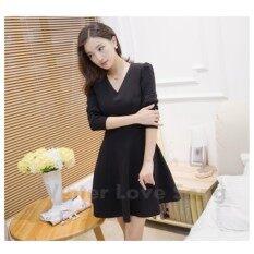 Black Dress เดรสสีดำ เดรสดำ ชุดเดรส เดรสผู้หญิง เดรสผู้หญิงสีดำ เดรสทำงาน รุ่น V Neck Dress คอวี สีดำ เป็นต้นฉบับ