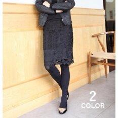 Black Lace Skirt กระโปรงผ้าลูกไม้สีดำ เอวยางยืด ใหม่ล่าสุด