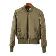 โปรโมชั่น Blackhorse Fashion Women S Zip Up Stainding Look Baseball Collar Bomber Jacket Army Green Intl Unbranded Generic ใหม่ล่าสุด