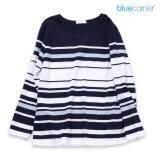 ขาย Blue Corner เสื้อยืด คอตตอน ลายริ้ว แขนสามส่วน สีกรมท่า ออนไลน์