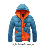 ขาย ซื้อ Blue Orange Splice 2017 New Arrived Autumn Winter Duck Down Jacket Hooded Winter Jacket For Men Fashion Mens Joint Outerwear Coat Plus Size ใน จีน