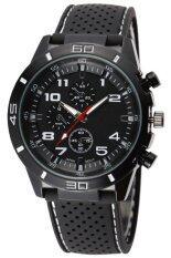 ทบทวน ที่สุด Bluelans® เหล็กกล้าไร้สนิมซิลิโคนขาวคล้ายคลึงนาฬิกาควอทซ์คำ สีดำ
