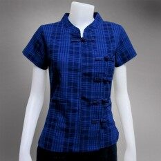 ราคา Bm 12 เสื้อม่อฮ่อมหญิง คอจีน กัดลายสก็อต แขนตรง กระดุมป้าย