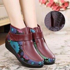 ซื้อ รองเท้าผู้หญิงฤดูหนาวหนังดอกไม้อุ่นกลางแจ้งข้อเท้า ออนไลน์