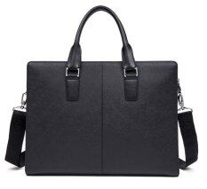Bostanten Cow Leather Handbag Briefcase Laptop Bag For Men (black).