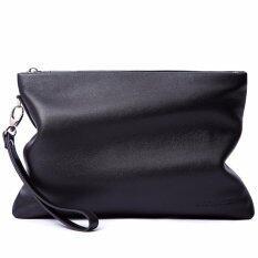 โปรโมชั่น Bostanten Men S Genuine Cowhide Leather Zipper Clutch Casual Handbag Wallet Black ถูก