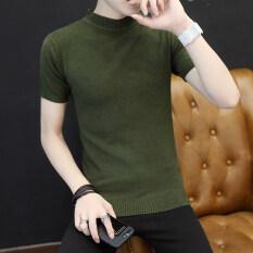 ขาย เสื้อกันหนาวแฟชั่นเสื้อกันหนาวผู้ชายส่วนบางปกสูงครึ่ง สีเขียว