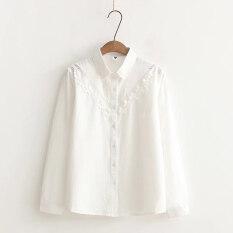 ขาย เสื้อเกาหลีเสื้อเชิ้ตสีขาวเสื้อปักหญิงแขนยาว สีขาวคอปกแหลม ออนไลน์ ฮ่องกง
