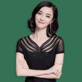 ขาย Modengmeimei หญิงแขนสั้นฤดูร้อนใหม่ไซส์พิเศษไซส์ใหญ่พิเศษเส้นด้ายสุทธิเสื้อ Bottoming สีดำ ใน ฮ่องกง