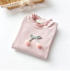 ราคา เกาหลีผ้าฝ้ายบางเชอร์รี่ยืดเสื้อยืดแขนยาว Bottoming เสื้อ สีชมพู เป็นต้นฉบับ