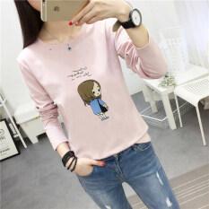 ขาย ซื้อ เสื้อเกาหลีเสื้อหญิงตัวอักษรคอกลม 186 สีชมพู