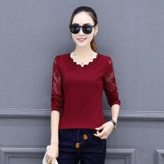 ราคา Yi Mei เสื้อสไตล์สาวเกาหลีแขนยาวผสมผ้าลูกไม้ ไวน์แดง ไวน์แดง ราคาถูกที่สุด